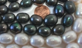 12-15mm Large Rice Drop Black and White Oval Pearl Strands