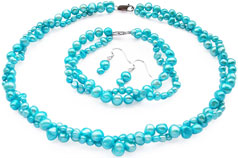 bright blue baroque pearl set