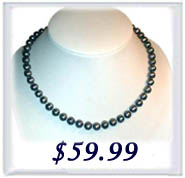 6-7mm AA+ black round pearl necklace