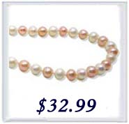 6-7mm white and pink round pearl necklace in silver