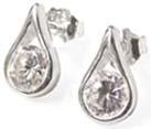 drop shaped silver earrings