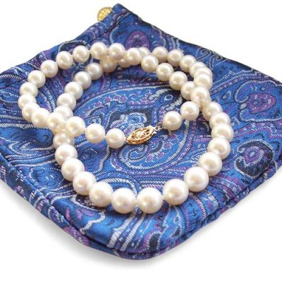 8-8.5mm White Round Pearl Necklace 14K Gold