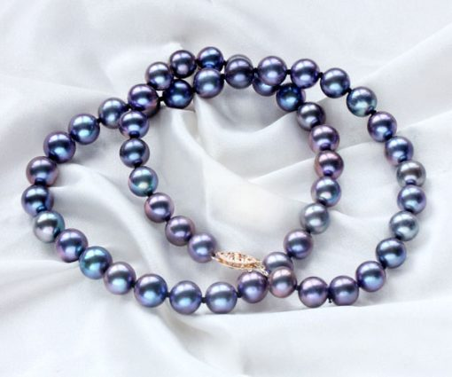 8-8.5mm Black Round Pearl Necklace 14K Gold