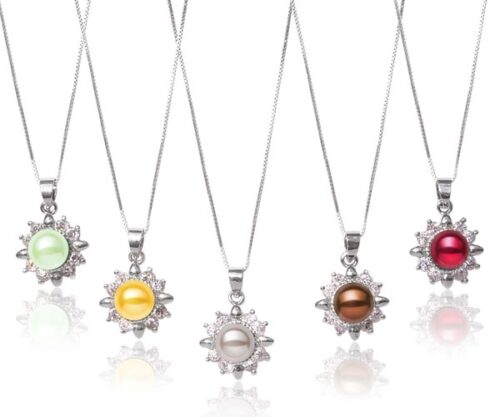 Light Green, Gold, Chocolate, Cranberry and Grey 8-9mm Flower Pearl Pendant, 16inch SS Chain