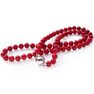Red Coral Necklace Magnetic Clasp