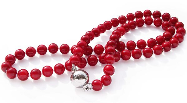 Red 6-7mm Single Row Coral Necklace, Magnetic Clasp