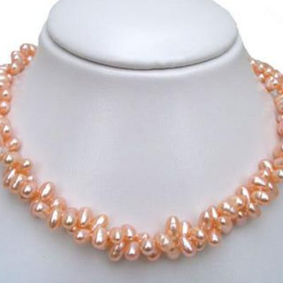 Double Strand Pink Pearl silver Necklace 17in