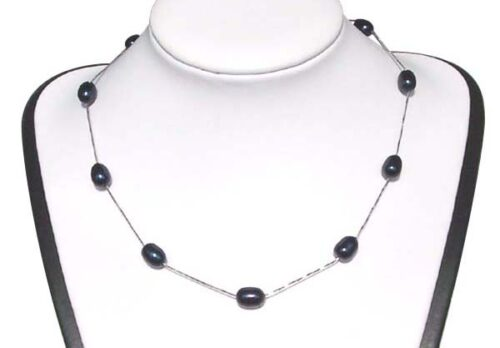 Black 7-8mm Rice Pearl Silver Tin-Cup Choker, 17.5in 925 SS