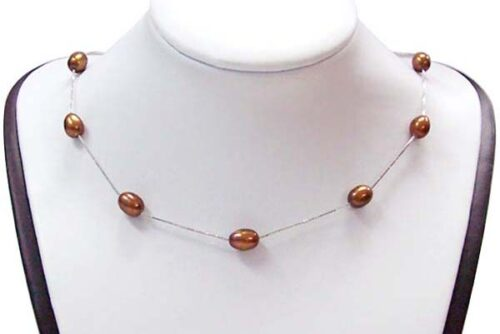 Chocolate 7-8mm Rice Pearl Silver Tin-Cup Choker, 17.5in 925 SS