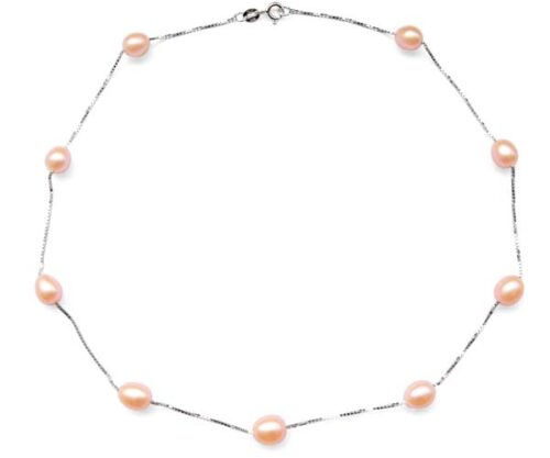 Pink 7-8mm Rice Pearl Silver Tin-Cup Choker, 17.5in 925 SS