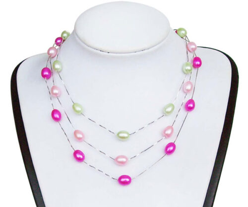 Hot Pink and Pale Pink 7-8mm Rice Pearl Silver Tin-Cup Choker, 17.5in 925 SS