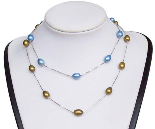 Dark Golden Rod and Blue 7-8mm Rice Pearl Silver Tin-Cup Choker, 17.5in 925 SS