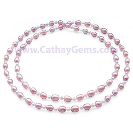 White Rice and Mauve Potato Pearl Two-row Necklace at 36inch Long,Claspless