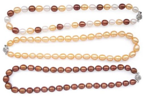 White/Chocolate/Apricot 9-10mm Pearl Necklace, 925 SS Rose Shaped Clasp
