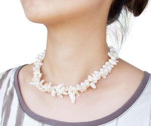 White Baroque Pearl Choker Double Strands