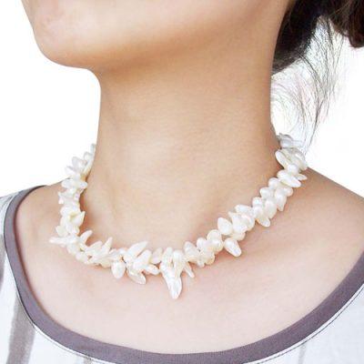 White Baroque Pearl Choker Double Strands