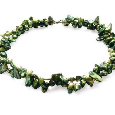 Christmas Green Baroque Pearl Choker Double Strands