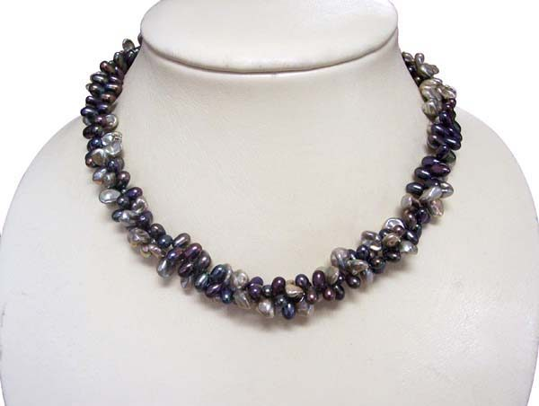 Multi-Black Peanut Pearl Necklace, SS Lobster Clasp