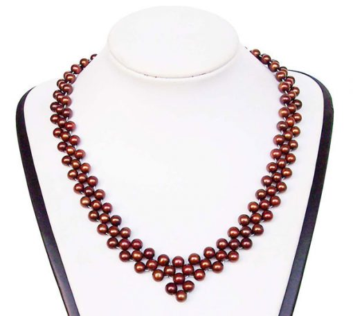 Chocolate 6-7mm Pearl Necklace Bib, 925 SS