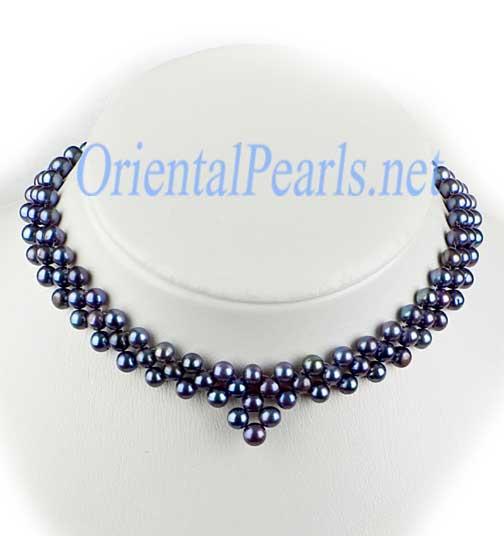 Black 6-7mm Pearl Necklace Bib, 925 SS