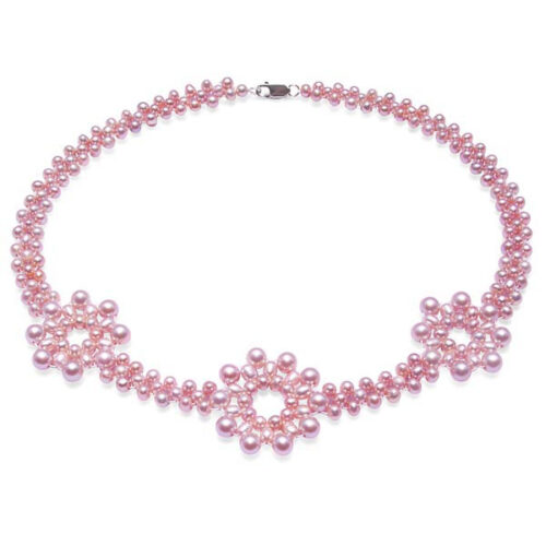 3 Flower Genuine Lavender Pearl Necklace in Sterling Silver
