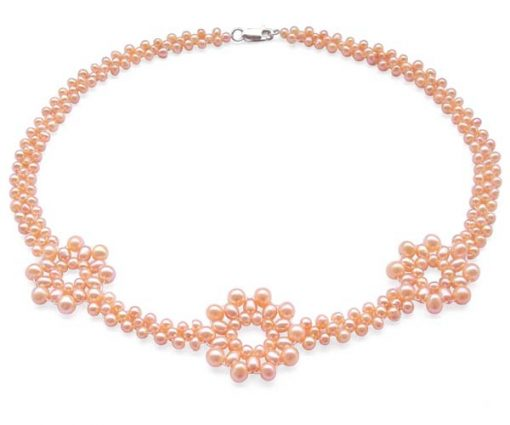 Pink 3.5-4mm, 4-5mm and 5-6mm 3 Flower Pearl Necklace SS