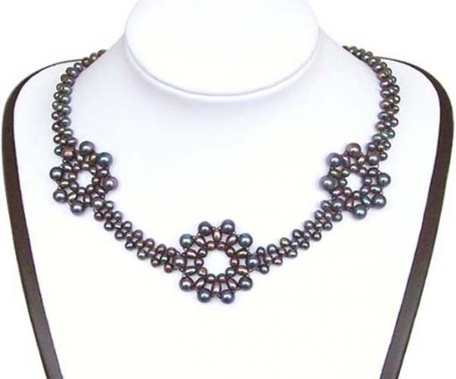 Black 3.5-4mm, 4-5mm and 5-6mm 3 Flower Pearl Necklace SS