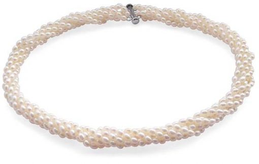 White 3-4mm 6-Row Pearl Necklace in 925 SS