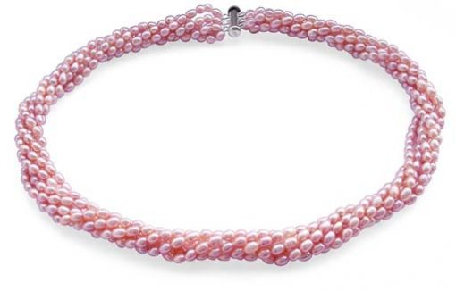 Mauve 3-4mm 6-Row Pearl Necklace in 925 SS
