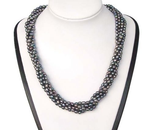 Black 3-4mm 6-Row Pearl Necklace in 925 SS