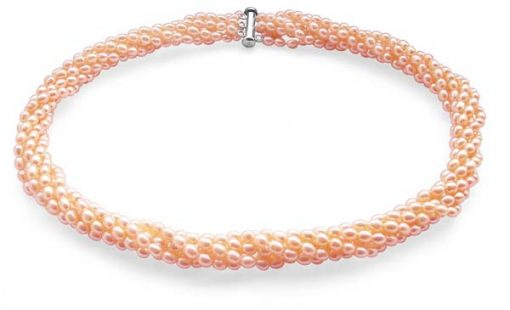 Pink 3-4mm 6-Row Pearl Necklace in 925 SS