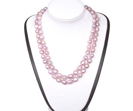 Mauve 9-11mm Double Strand Large Pearl Necklace