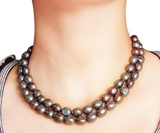 Chocolate 9-11mm Double Strand Large Pearl Necklace