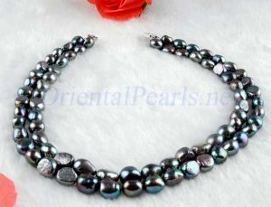 Black 9-11mm Double Strand Large Pearl Necklace