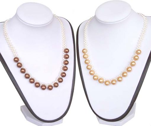 4mm and 10mm White and Chocolate, White and Champagne Seashell Pearl Necklace