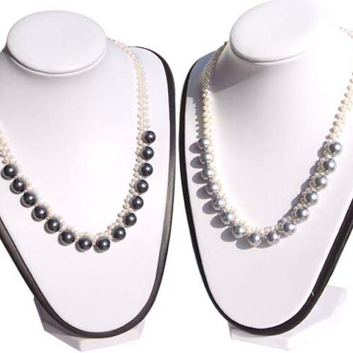 4mm and 10mm White and Black, White and Grey Seashell Pearl Necklace