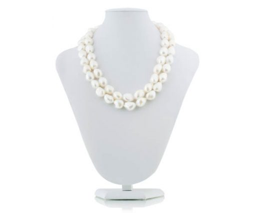 White 13-14mm 2-Row  Baroque Pearl Necklace, 925 SS Clasp