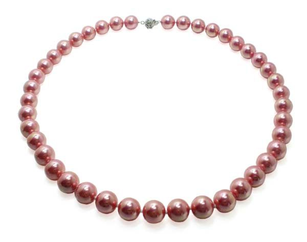 Rose Pink 10mm, 12mm Southsea Shell Pearl Necklace, 22in, Two Styled Clasps