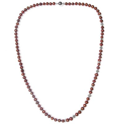 Chocolate 7-8mm Semi-Round Pearl Necklace with Magnetic Clasp, 27in