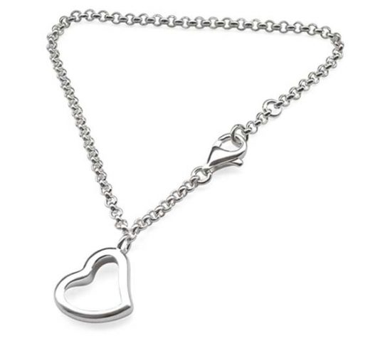 925 SS Bracelet with Simple Heart Charms