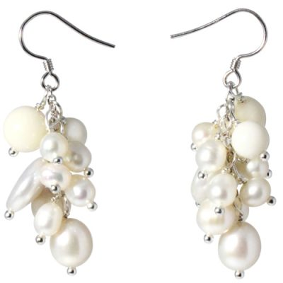 White Genuine Pearls and Gemstones Dangle Earrings, 925 SS