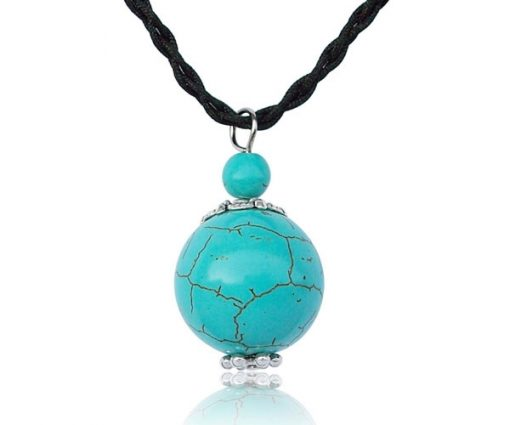 Turquoise 6mm and 20mm Pendant, 17in Silk Cord