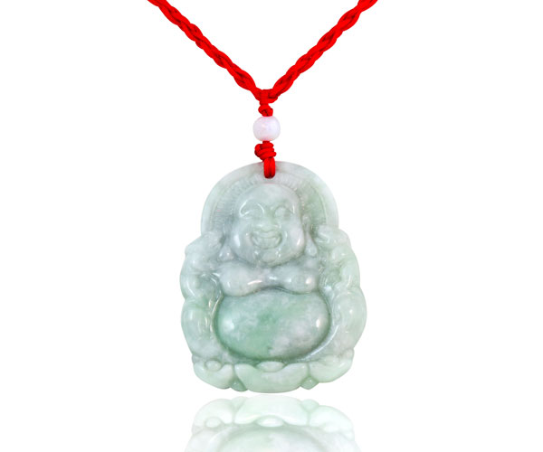 Motley w/ white and green Genuine Jade Pendant in Buddha Design, Red Cord