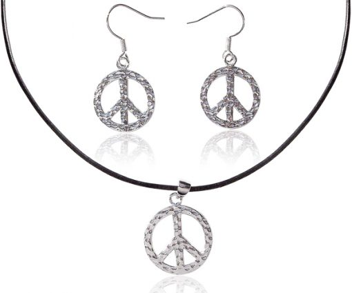 WG plated Pendant and Earrings Set, Peace Sign Design, Free Black Leather Cord