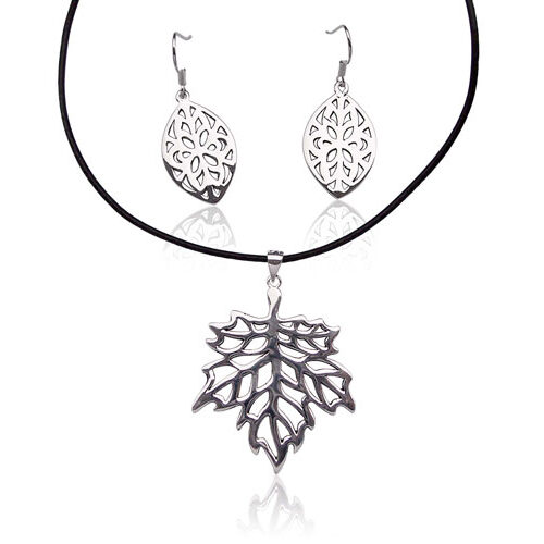 Pendant and Earrings Set, 18K Gold Overlay, Free Leather Cord