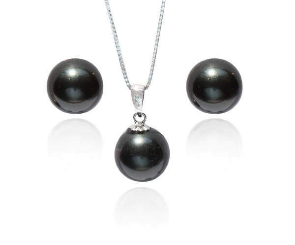 Peacock Black SSS Pearl Necklace and Earrings SS Set