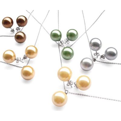 south sea shell pearl necklace and earrings sets