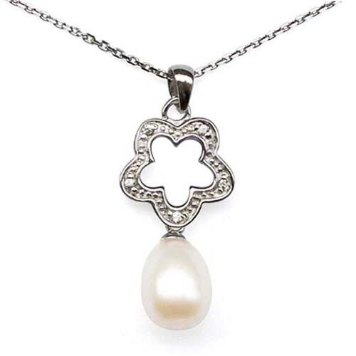 White Real 9mm Drop Pearl with Cz Diamonds in SS Pendant