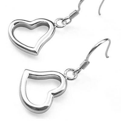 Heart Shaped 925 Sterling Silver Dangling Earrings