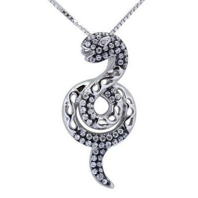 Silver Pendant in Snake Design 925 SS, 18in Silver Chain, 18k WG Overlay